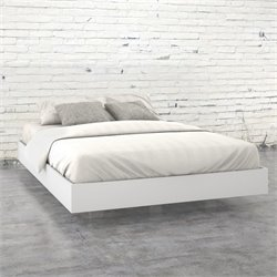 Queen Size Platform Bed in White and Melamine