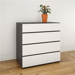 Nexera Allure Chest with 4 Drawers in White Lacquer and Ebony