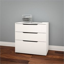 Nexera Arobas Filing Cabinet in White and Melamine with 3 Drawers