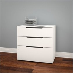 Filing Cabinet in White and Melamine with 3 Drawers