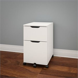 Mobile Filing Cabinet in White and Melamine