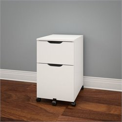Nexera Arobas Mobile Filing Cabinet in White and Melamine