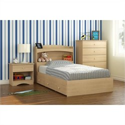 4 Piece Twin Bedroom Set in Natural Maple
