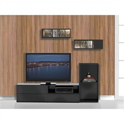 Nexera Avenue 3 Piece Entertainment Set in Black Lacquer and Melamine with Open Storage Unit
