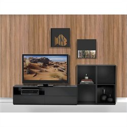 Nexera Avenue 4 Piece Entertainment Set in Black Lacquer and Melamine with Open Storage Unit