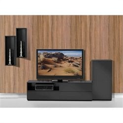 Nexera Avenue 3 Piece Entertainment Set in Black Lacquer and Melamine with 1 Door Storage Unit