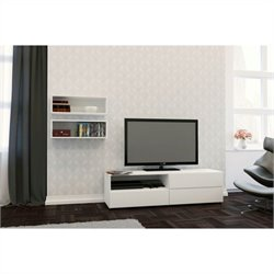 2 Piece Entertainment Set in White with Wall Rectangles