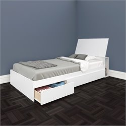 Twin Storage Bed with Headboard in White