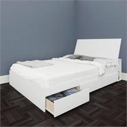 Full Storage Bed with Headboard in White