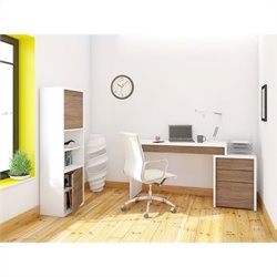 Nexera Liber-T 3 Piece Office Set Set in White with Bookcase