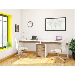 Nexera Liber-T 3 Piece Office Set in White with Desk Panel