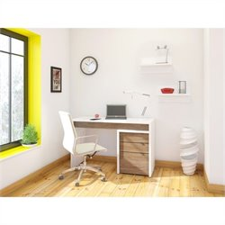 Nexera Liber-T 3 Piece Office Set in White with Wall Shelves