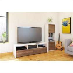 Nexera Liber-T 2 Piece Entertainment Set in White with Desk Panel