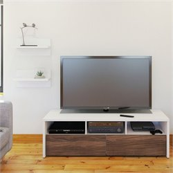 Nexera Liber-T 2 Piece Entertainment Set in White with Wall Shelves