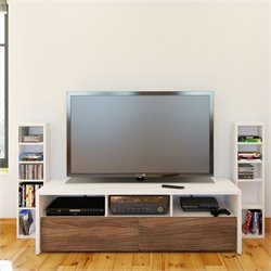 2 Piece Entertainment Set in White with Storage Towers