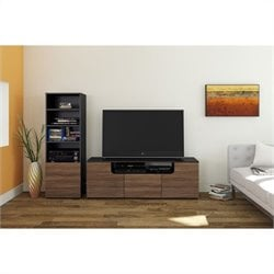 Nexera Next 2 Piece Entertainment Set in Black and Walnut with Bookcase