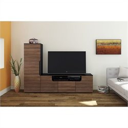 Nexera Next 2 Piece Entertainment Set in Black and Walnut with Storage Unit