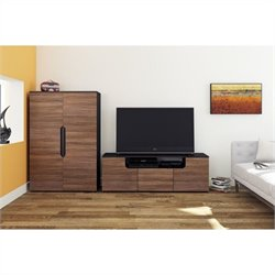 Nexera Next 3 Piece Entertainment Set in Black and Walnut with Storage Unit