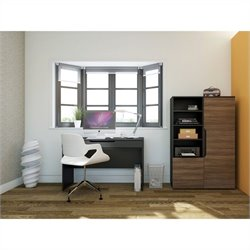 Nexera Next 3 Piece Office Set in Black and Walnut