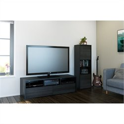 Nexera Sereni-T 2 Piece Entertainment Set in Black and Ebony with Desk Panel