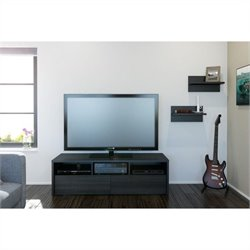 Nexera Sereni-T 2 Piece Entertainment Set in Black and Ebony with Wall Shelves