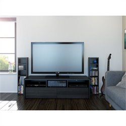 Nexera Sereni-T 2 Piece Entertainment Set in Black and Ebony with Storage Tower