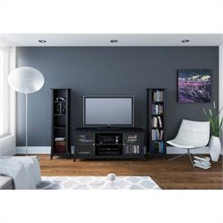 3 Piece Entertainment Set in Black Laquer and Melamine with Bookcase