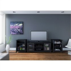 Nexera Tuxedo 3 Piece Entertainment Set in Black Laquer and Melamine with Audio Tower