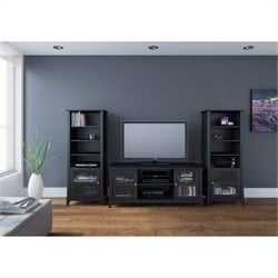Nexera Tuxedo 3 Piece Entertainment Set in Black Laquer and Melamine with Curio Cabinet