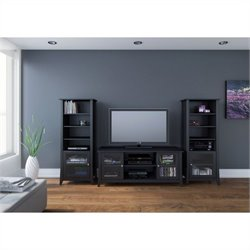Nexera Tuxedo 3 Piece Entertainment Set in Black Laquer and Melamine