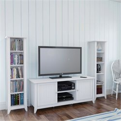 3 Piece Entertainment Set in White with Bookcase
