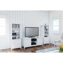 3 Piece Entertainment Set with Curio Cabinet in White