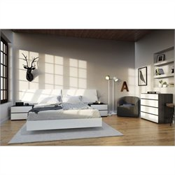 Nexera Acapella 5 Piece Queen Bedroom Set in White and Ebony