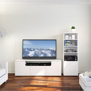 2 Piece Entertainment Set in White Melamine