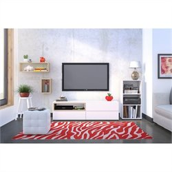 Nexera Collage 3 Piece Entertainment Set in Maple and White with Open Storage Unit