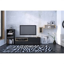 Nexera Collage 3 Piece Entertainment Set in Maple and Black with Open Storage Unit