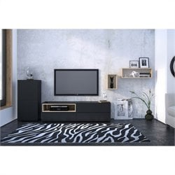 Nexera Collage 3 Piece Entertainment Set in Maple and Black with 1 Door Storage Unit
