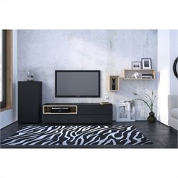 Nexera Collage 3 Piece Entertainment Set in Maple and Black
