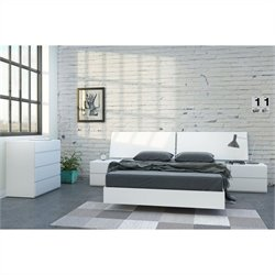 5 Piece Full Bedroom Set in White Lacquer and Melamine