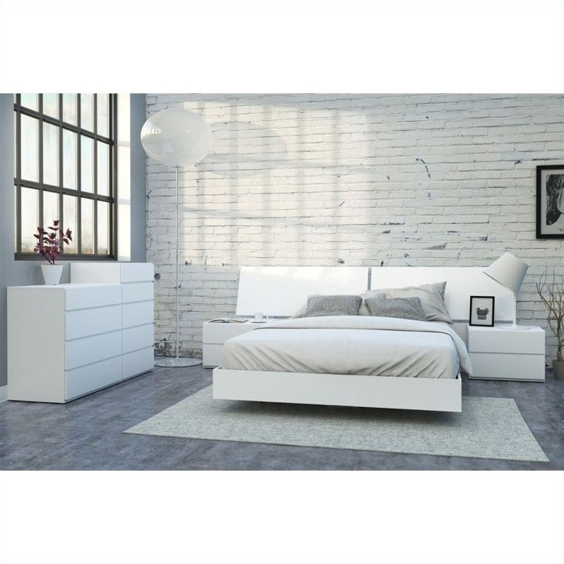 6 Piece Queen Bedroom Set in White Lacquer and Melamine - 400663-SET