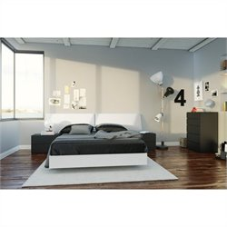 5 Piece Full Bedroom Set in White and Black with 5 Drawer Chest