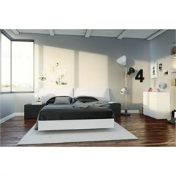 5 Piece Full Bedroom Set in White and Black With 4 Drawer Chest