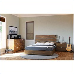 Nexera Nocce 3 Piece Full Bedroom Set in Truffle with Dresser