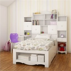 4 Piece Twin Bedroom Set in White with Bookcase Desk