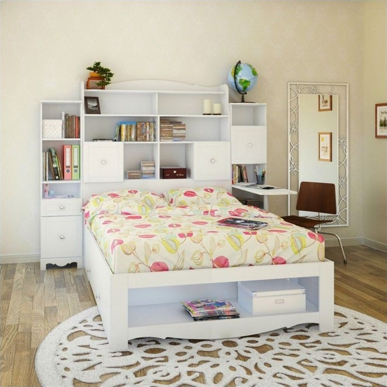 Piece Full Bedroom Set In White With Bookcase Desk 400630 SET