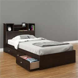 Nexera Pocono 2 Piece Twin Bedroom Set in Espresso with 3 Drawers