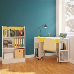 Nexera Taxi 2 Piece Office Set in White and Yellow with Bookcase