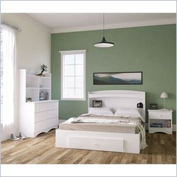 Nexera Vichy 5 Piece Full Bedroom Set in White and Melamine