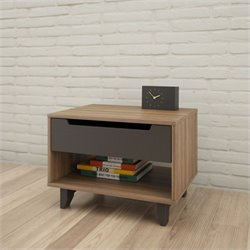 Nexera Alibi 1-Drawer Nightstand in Walnut and Charcoal
