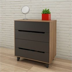 Nexera Alibi 4-Drawer Chest in Walnut and Charcoal